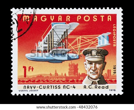 HUNGARY - CIRCA 1978: mail stamp printed in Hungary featuring aviation pioneer Albert Cushing Read, circa 1978