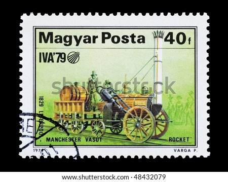 HUNGARY - CIRCA 1979: mail stamp printed in Hungary featuring the Rocket steam locomotive, circa 1979
