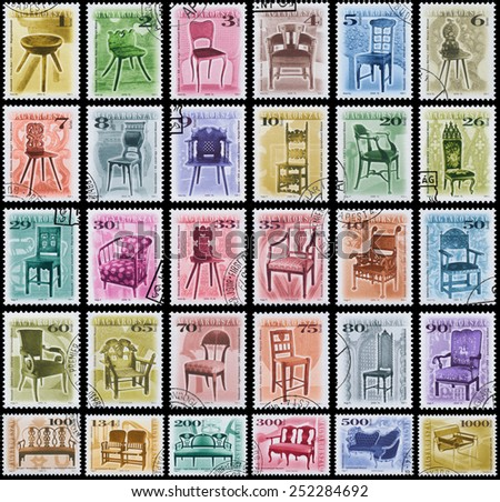 "HUNGARY - CIRCA 1999: Set of stamps printed in Hungary, shows antique Chairs, Stool, with the same inscription, from series ""Furniture Type"", circa 1999 - stock photo"
