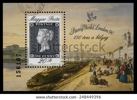 Hungary - CIRCA 1990: Stamp is printed in Hungary shows the first stamp of the World, The 150th Anniversary of Stamps, circa 1990 - stock photo