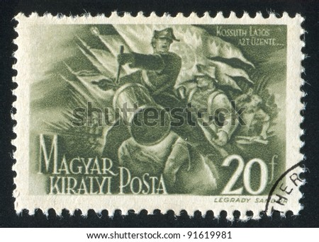 HUNGARY - CIRCA 1944: stamp printed by Hungary, shows Honved drummer, circa 1944