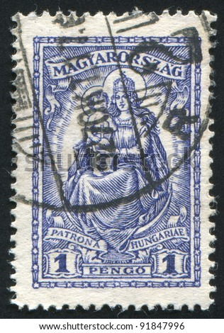 HUNGARY - CIRCA 1927: stamp printed by Hungary, shows Madonna and child, circa 1927 - stock photo