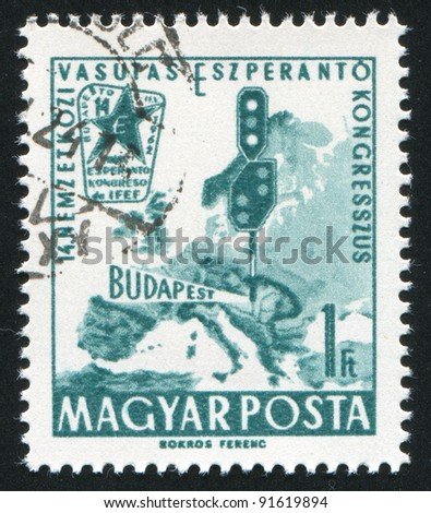 HUNGARY - CIRCA 1962: stamp printed by Hungary, shows map of Europe, train signals and emblem, circa 1962 - stock photo