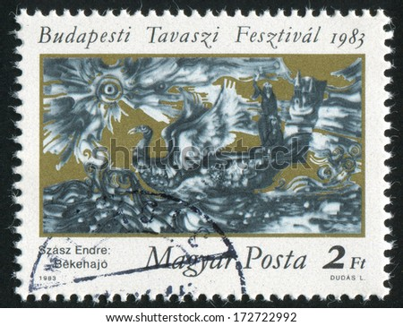 HUNGARY - CIRCA 1983: stamp printed by Hungary, shows Ship of Peace by Engre Szasz, circa 1983