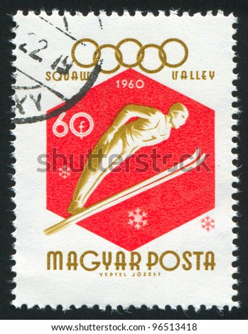 HUNGARY - CIRCA 1960: stamp printed by Hungary, shows ski jumper, circa 1960