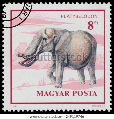 """HUNGARY - CIRCA 1990: Stamp printed in Hungary from the """"Prehistoric Animals """" issue shows Platybelodon, circa 1990. - stock photo"""