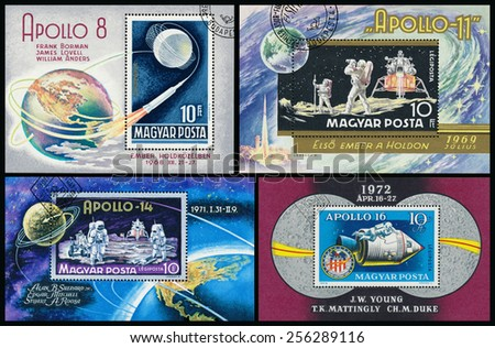 HUNGARY - CIRCA 1969: Stamp printed in Hungary, shows Apollo 8 with names of astronauts, circa 1969  - stock photo
