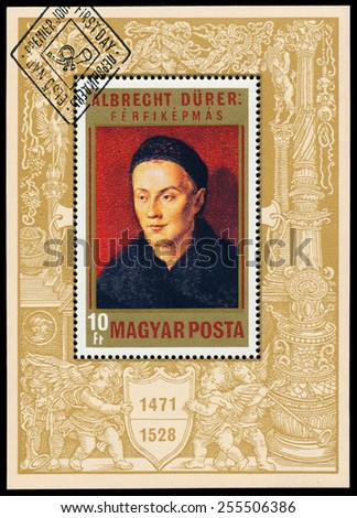 "HUNGARY - CIRCA 1971: Stamp printed in Hungary shows painting by Albrecht Durer ""Man's portrait"", circa 1971 - stock photo"
