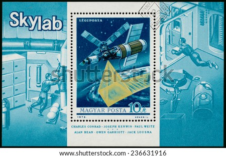 HUNGARY - CIRCA 1973: Stamp printed in Hungary shows Skylab space station, circa 1973 - stock photo