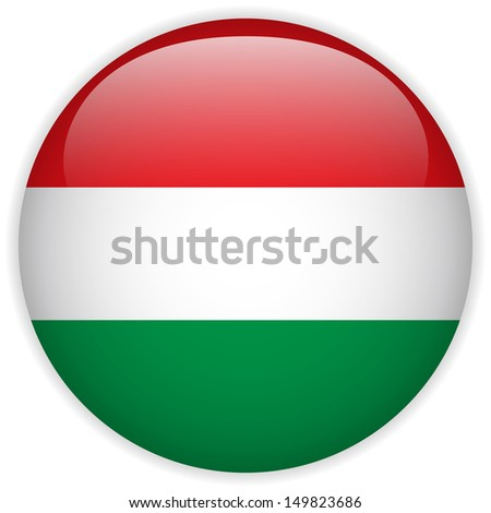 Hungary Flag Glossy Button - stock photo