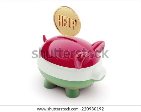 Hungary High Resolution Help Concept High Resolution Piggy Concept