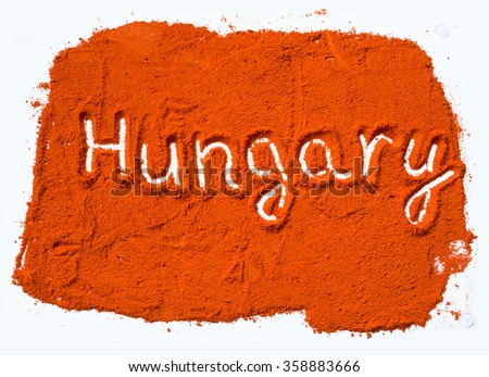 Hungary in red pepper - stock photo