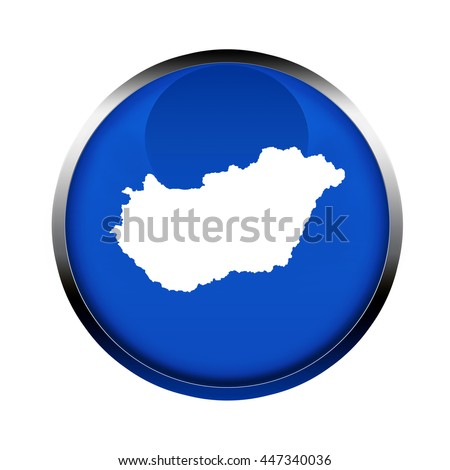Hungary map button in the colors of the European Union. - stock photo