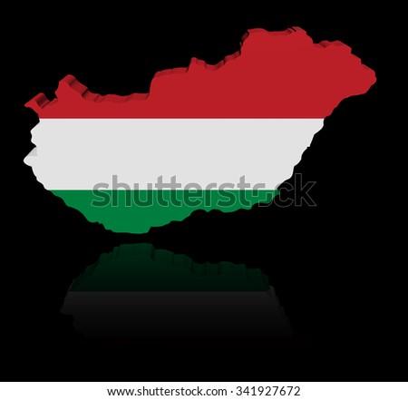 Hungary map flag with reflection illustration - stock photo