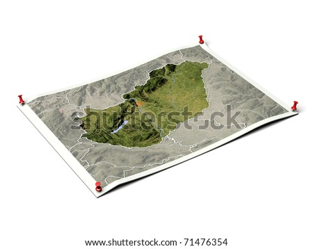 Hungary on unfolded map sheet with thumbtacks. Map colored according to vegetation, with borders and major urban areas. Includes clip path for the background.