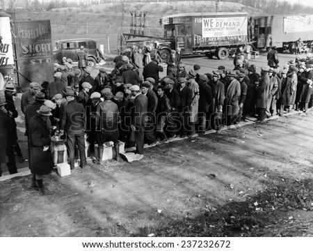 Hunger Marchers breakfast just outside Washington DC, December, 1932. - stock photo