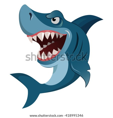 Hungry angry cartoon great white shark wiith big teeth isolated. Graphic illustration - stock photo