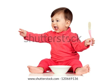 Hungry baby girl yelling for food isolated on white background - stock photo