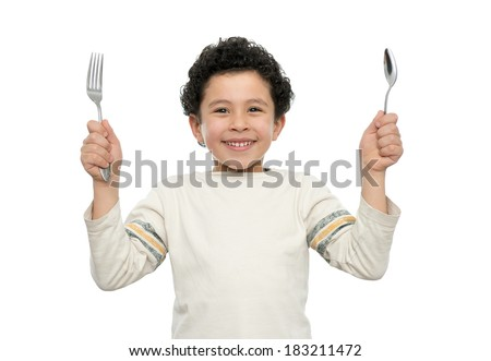 Hungry Boy With Fork and Spoon Ready for Lunch Isolated - stock photo