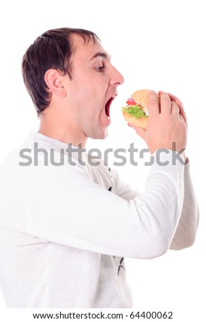 Hungry man very need a hamburger isolated on white background - stock photo