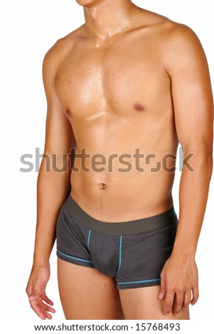 hunky asian in boxer trunks over white background