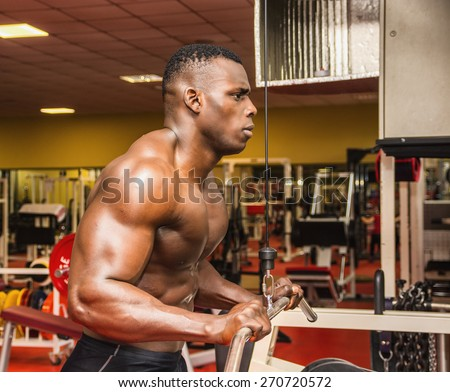 Hunky muscular black bodybuilder working out in gym, exercising triceps on machine - stock photo