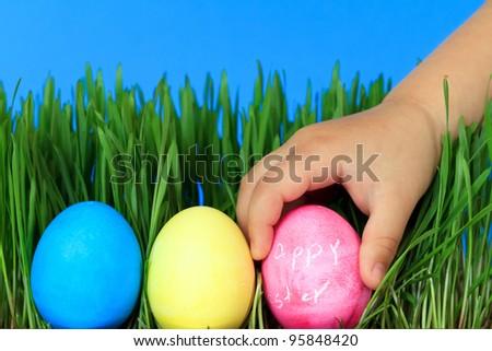 hunt for easter eggs - stock photo