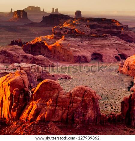 Hunt's Mesa, Monument Valley - stock photo