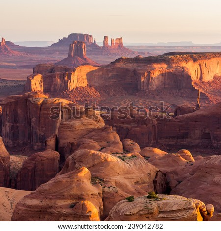 Hunt's Mesa, view of the Monument Valley an sunrise. Outdoor adventure scenics - stock photo