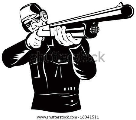 Hunter aiming a shotgun - stock photo