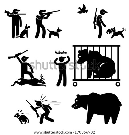Hunter and Hunting Dog Stick Figure Pictogram Icon - stock photo