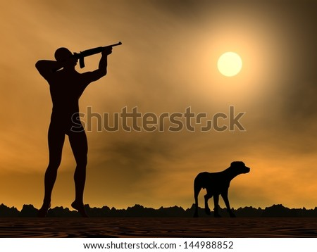 Hunter holding rifle ready to shoot and a dog aside - stock photo