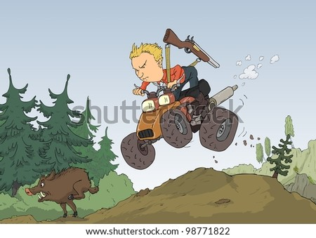 Hunter with a quad bike chasing wild boar - stock photo