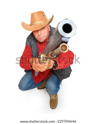 Hunter with big bore rifle isolated on a white background. - stock photo