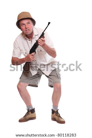Hunter with his self-loading hunting rifle. - stock photo
