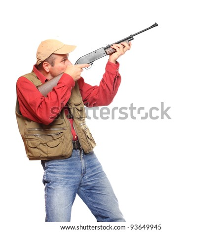 Hunter with rifle on a white background. - stock photo