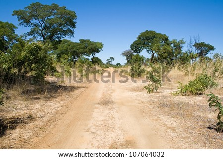 Hunters Road next to Hwange National Park, Africa - stock photo