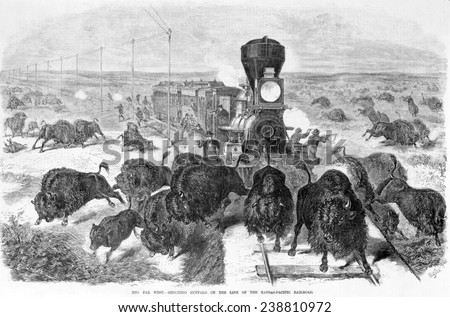 Hunters shooting at a herd of bison from a train and along the tracks, the far west - shooting buffalo on the line of the Kansas-Pacific Railroad, wood engraving, 1871 - stock photo