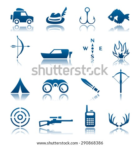 Hunting and fishing icon set - stock photo