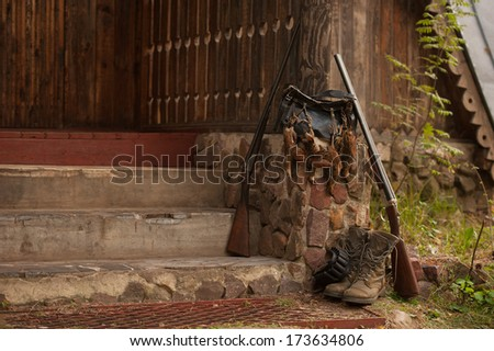 hunting birds, gun and accessories, horizontal, outdoors - stock photo