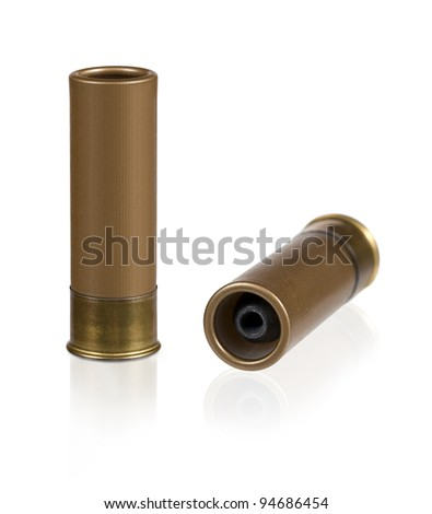 Hunting bullets isolated on white background. Collage. - stock photo