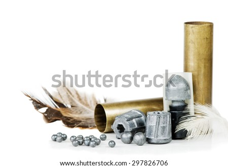 Hunting cartridges, bullets and lead shot, isolated on white background