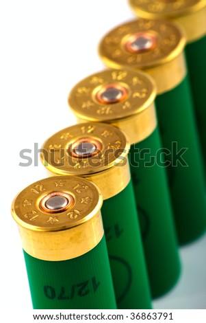 Hunting cartridges for shotgun - stock photo