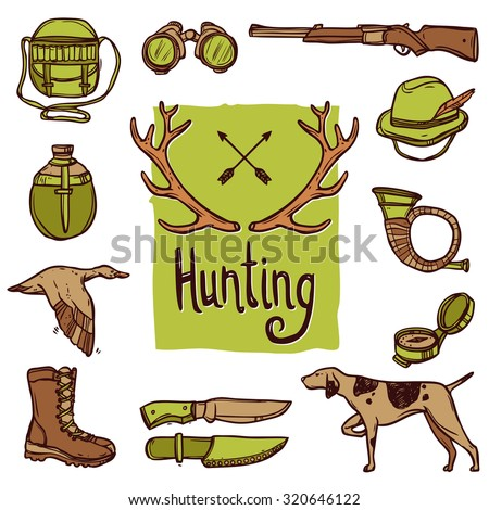 Hunting hand drawn icons set with dog weapon deer horns isolated  illustration - stock photo