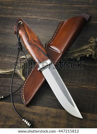 hunting knife handmade - stock photo