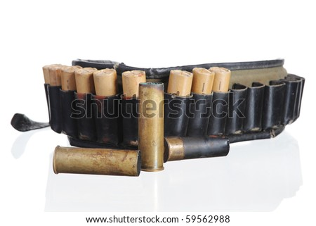 hunting leather bandolier. Isolated on white background - stock photo