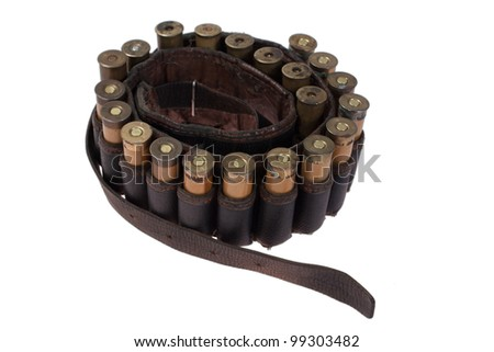 hunting leather belt with ammo isolated on white background - stock photo