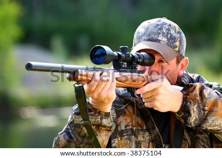 hunting moose - stock photo