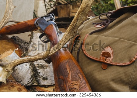 Hunting rifle, bag and horn