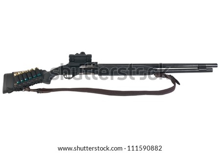 Hunting rifle MR-153 12 caliber isolated on white background with clipping path